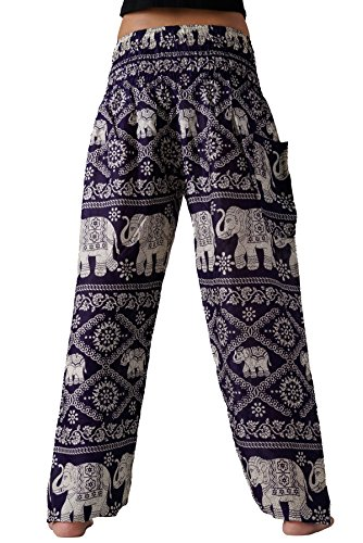Bangkokpants Women's Plus Size Yoga Pants Maternity Clothes Bohemian Elephant Design US 14-22 (Purple)