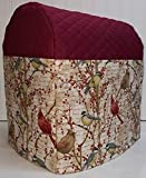 Quilted Birds & Berries Kitchenaid Lift Bowl Stand Mixer Cover (Burgundy)