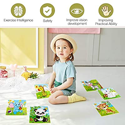 Aitey Wooden Jigsaw Puzzles for Kids Ages 2-5 Toddler Puzzles 9 Pieces Preschool Educational Learning Toys Set Animals Puzzles for 2 3 4 Years Old Boys and Girls (6 Puzzles): Toys & Games