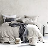 King Size Duvet Covers Eikei Washed Cotton Chambray Duvet Cover Solid Color Casual Modern Style Bedding Set Relaxed Soft Feel Natural Wrinkled Look (King, Neutral)