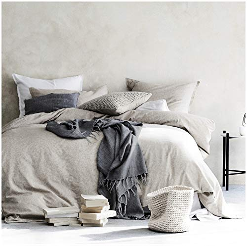 Eikei Washed Cotton Chambray Duvet Cover Solid Color Casual Modern Style Bedding Set Relaxed Soft Feel Natural Wrinkled Look (King, Neutral)