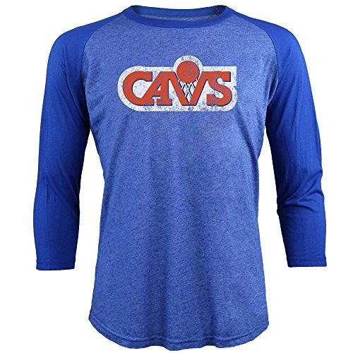 Majestic Athletic NBA Cleveland Cavaliers Men's Premium Triblend 3/4 Sleeve Raglan, Large, Royal