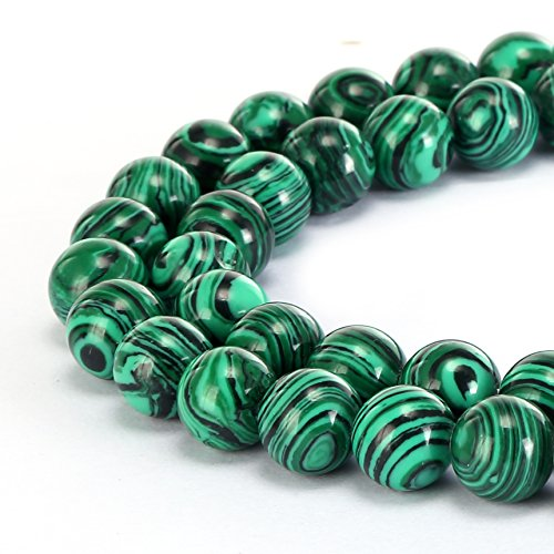 BRCbeads Gorgeous Synthetic Malachite Gemstone Smooth Round Loose Beads 10mm Approxi 15.5 inch 35pcs 1 Strand per Bag for Jewelry Making