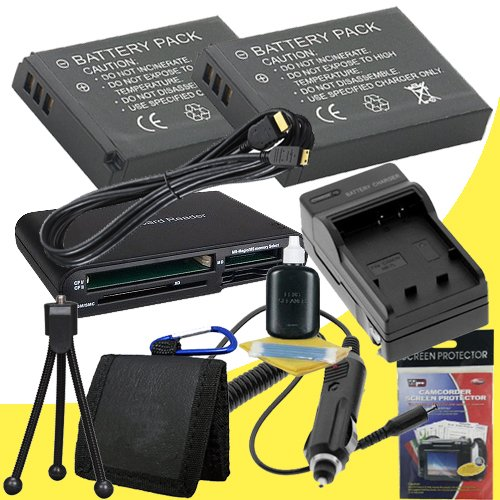 TWO PS-BLS1 Lithium Ion Replacement Batteries + Memory Card Reader/Wallet + Deluxe Starter Kit w/Charger for Olympus Pen E-P3 E-PL1 E-P2 Digital SLR Cameras DavisMAX Accessory EPL1 EP2 EP3 Bundle ()