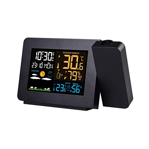 XF-B Estación Meteorológica con Reloj De Alarma De Proyección De ...