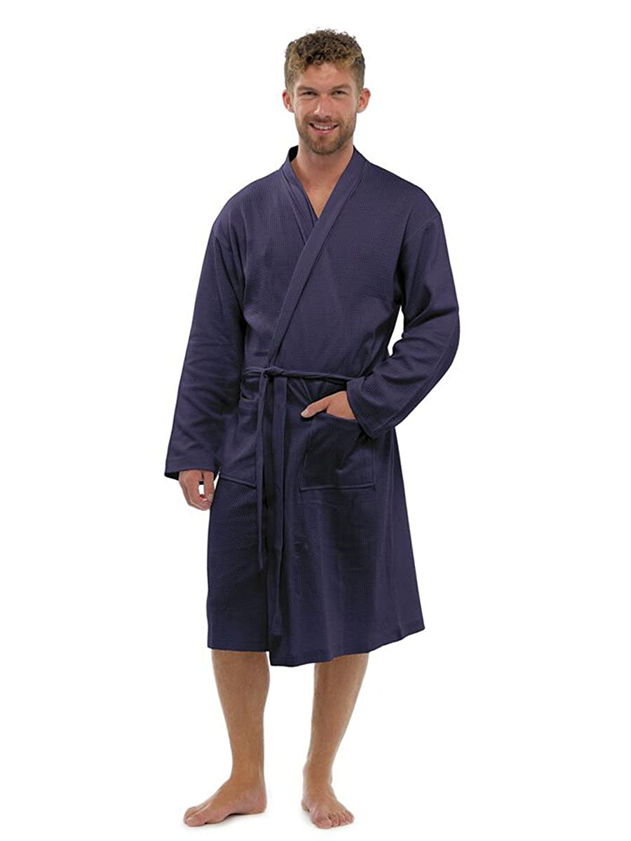 Men's 100% Cotton Robe Dressing Gown, Soft Waffle Robe Wrap Loungewear, HT561 By Sockstack®