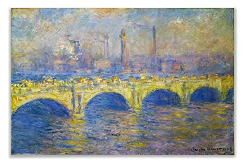 Monet Wall Art Collection Waterloo Bridge, Sunlight Effect, 1903 02 by Claude Monet Canvas Prints Wrapped Gallery Wall Art | Stretched and Framed Ready to Hang 12X18, Claude Monet Waterloo Bridge
