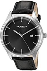 Akribos XXIV Men's Quartz Silver-Tone Case with Black Sunray Dial and Silver-Tone Hands on Black Alligator Embossed Genuine Leather Strap Watch AK914SSB