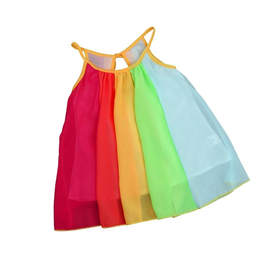 Summer Girls Beach Rainbow Dress,Girls Sleeveless Sling Perform Party Dress (Multicolor, 5/6T)
