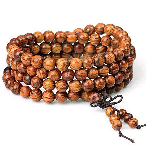 Wood Bracelet 108 Beads 8mm Diameter Tibetan Buddhist Link Wrist Sandalwood Beads Necklace Prayer Mala Elastic (108beads) (Wood Wooden Bracelets)