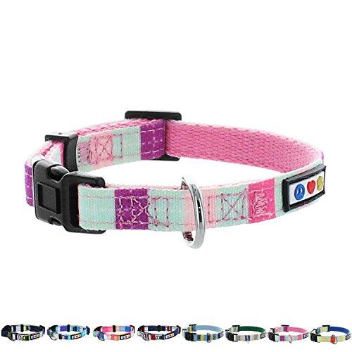 Pawtitas Multicolor Dog Collar Puppy Collar Pet Collar Multicolor Dog Collar Extra Small Dog Collar Teal/Pink / Purple Dog Collar
