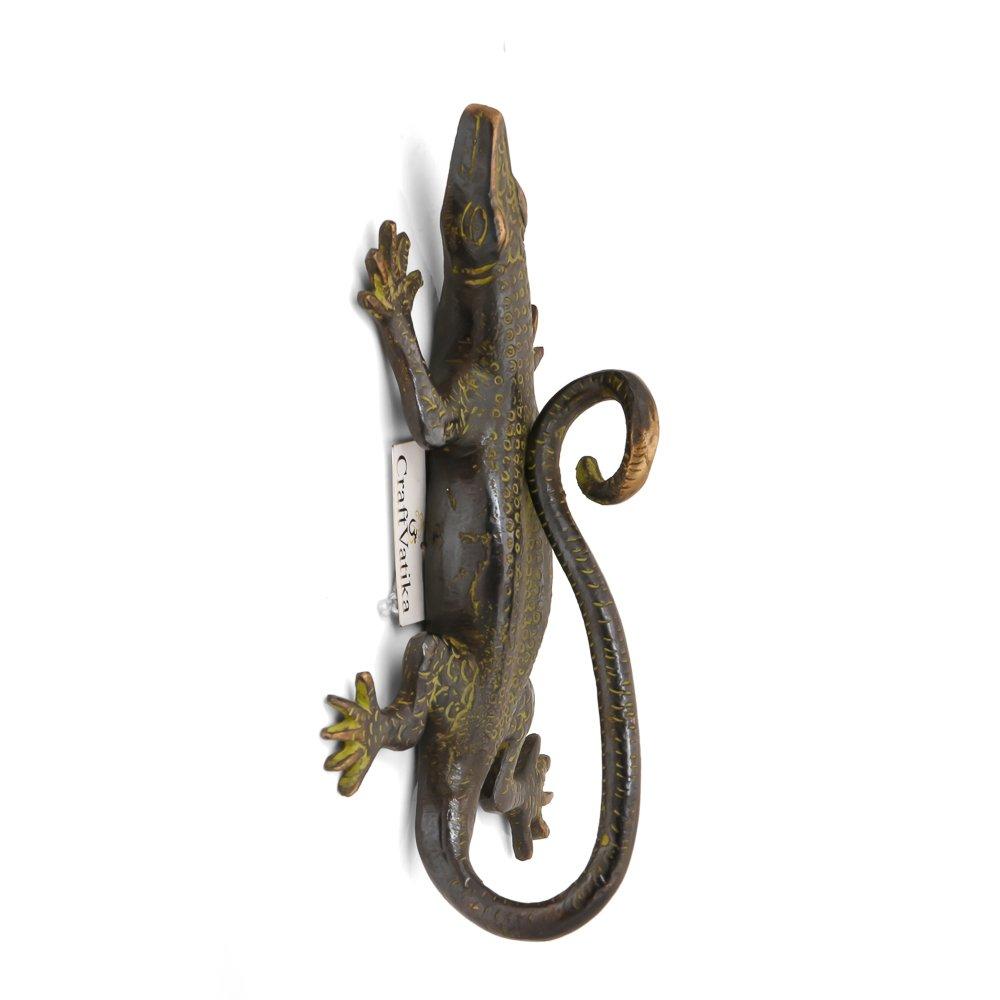 CraftVatika Antique Finish Lizard Brass Door Handle - Vintage Style Chameleon Pull Door Handleset Home Decor