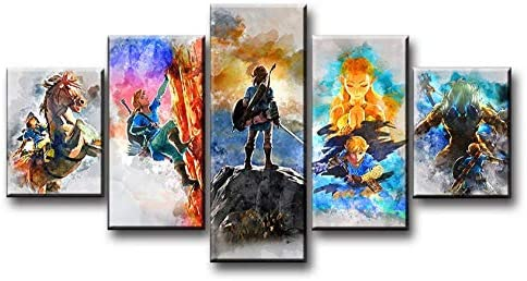 luyiwzd Cuadro sobre Lienzo 5 Piezas Pinturas Artísticas De 5 Piezas The Legend of Zelda Breath of The Wild Videojuegos Poster Canvas-KD-40: Amazon.es: Hogar