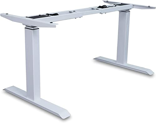 AITERMINAL Electric Standing Desk Frame Single Motor Adjustable Motorized Stand Up Desk-White Frame Only