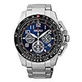 Seiko Chronograph Solar Stainless Steel Black Dial Men's Watch SSC275