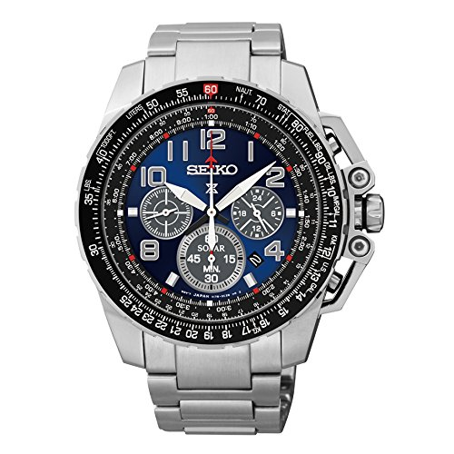 Seiko-Chronograph-Solar-Stainless-Steel-Black-Dial-Mens-Watch-SSC275-by-Seiko-Watches