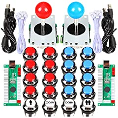 This is a LED Arcade Game DIY Parts for 2 Player DIY Project. The encoder support all the windows systems! All the buttons are not metal.If the LED does not light. Then please exchange the location LED interface.Each Encoder have its own USB ...