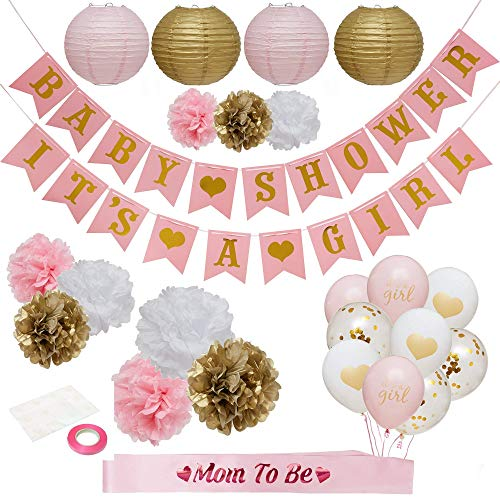 Baby Shower Decorations For Girl - Babyshower Party Supplies Paper Lanterns/Tissue Pom Poms/Balloons/Banner/Sash/Glue Dots/Ribbon - Pink/White/Gold Decorations - Balloon/Lantern Princess Baby (Baby Shower Party Supplies For Girl)