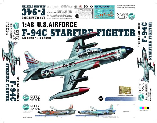 KTH80101 1:48 Kitty Hawk F-94C Starfire Fighter US Air Force MODEL KIT ()