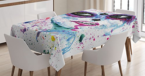 [Girly Decor Tablecloth by Ambesonne, Grunge Halloween Lady with Sugar Skull Make Up Creepy Dead Face Gothic Woman Artsy Print, Dining Room Kitchen Rectangular Table Cover, 60 X 84] (Sugar Skull Makeup Ideas)