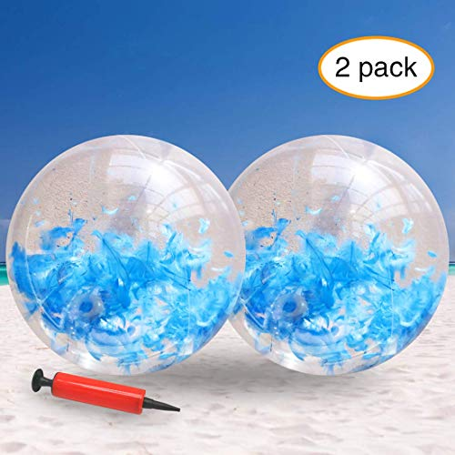 JINSEY Glitter Beach Ball Filled with Feathers,Inflatable Beach Ball (24inchs) Beach Balls Bulk Outdoor Beach Pool Toys for Adults Kids (Blue)