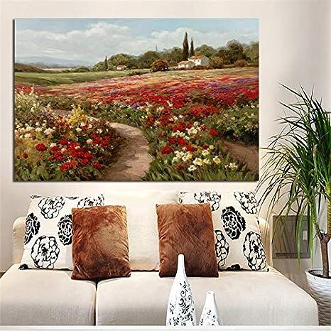 Pintura sin Marco Cartel de Personajes Famosos Pintura al óleo impresionista y Campo de Amapolas con Amapolas sobre lienzoCGQ6439 21X28cm
