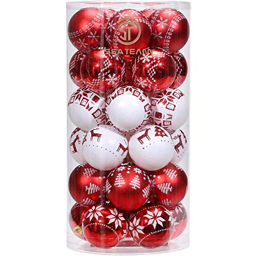 Sea Team 60mm/2.36 Delicate Painting & Glittering Christmas Tree Pendants Shatterproof Hanging Christmas Ball Ornaments Set - 30 Pieces, Red & White