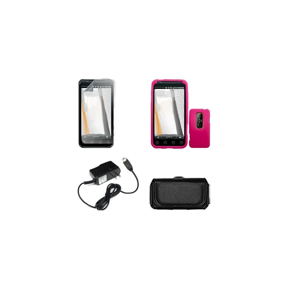 EVO 3D Combo Solid Hot Pink Silicone Skin Case Faceplate Cover + Home