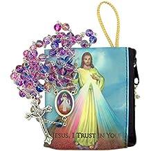 Divine Mercy of Jesus Catholic Rosary with Matching Case by Needzo Inc, 18 Inch