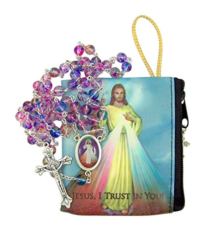 (Divine Mercy of Jesus Catholic Rosary with Matching Case by Needzo Inc, 18 Inch)