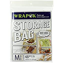 Wrapok Food Storage Bags, Snack Zipper, Easy Open Tabs 48 Count