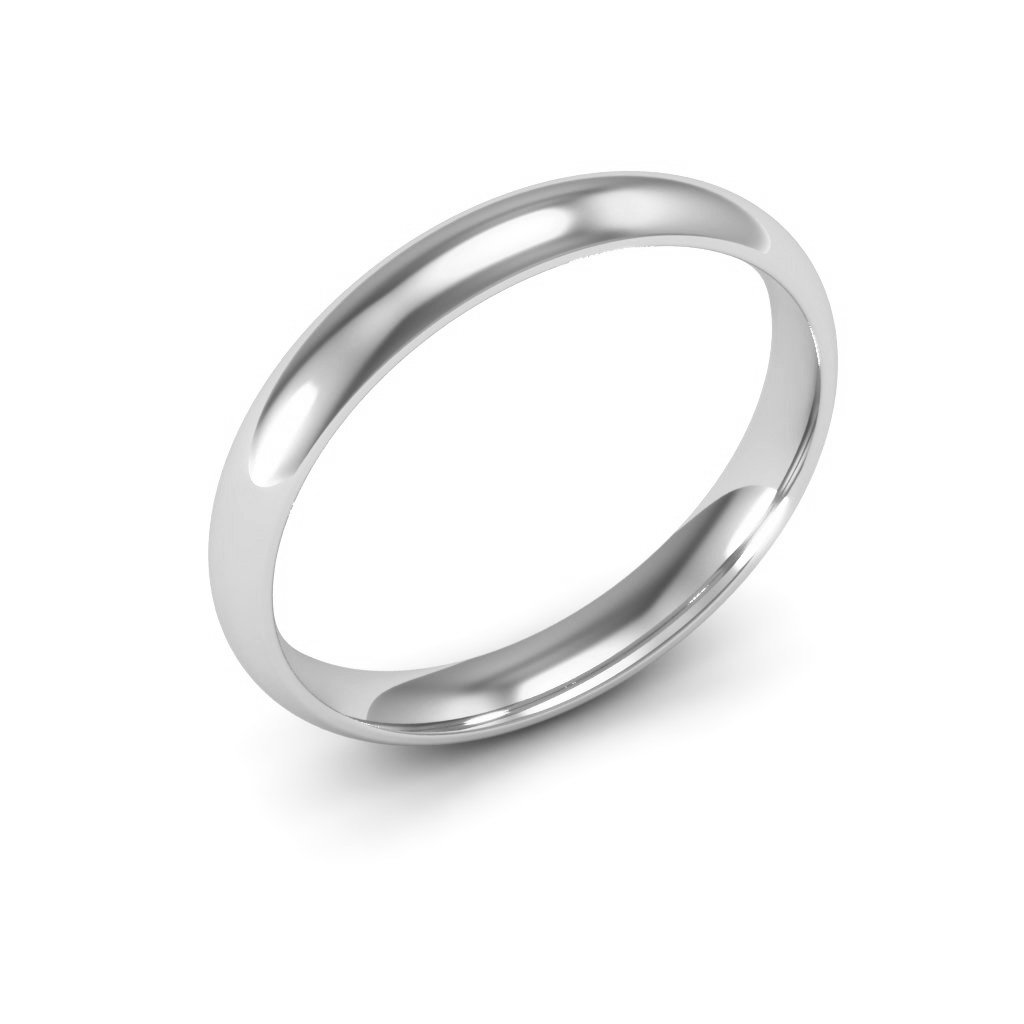 14K White Gold men's and women's plain wedding bands 3mm comfort-fit, 7.5