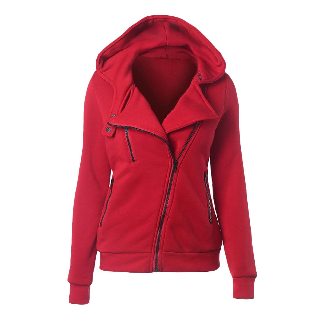 YUNY Women Hooded Solid Colored Zip-up Pullover Sweatshirt Red 3XL
