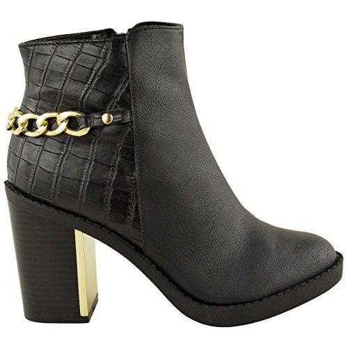 Mujer Dorado Tacón Medio Botines Chelsea Bloque Grueso Zapatos De Plataforma Negro Cocodrilo Piel Sintética