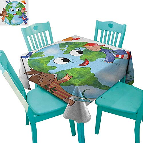- longbuyer Earth,Washable Tablecloth,Two Cute Kids Hugging Happy Planet Earth Bird and Hearts Embracing in Cartoon Style,36