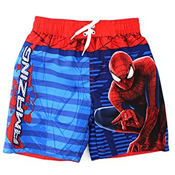 Spider-Man Boys Swimwear (7, Red Amazing Trunks)