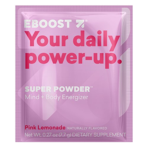 EBOOST SUPER POWDER Mind + Body Energizer, Pink Lemonade Flavor, 20 Count