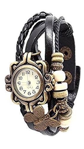 Nexxa Vintage Antique Retro Style Weave Wrap Leather Strap Trendy Ladies Bracelet Watch With Butterfly Pendant (BROWN) by SwissRock