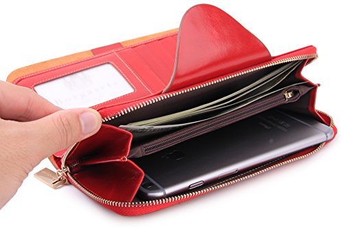 Borgasets RFID Blocking Large Capacity Wax Real Leather Clutch Wallet Card Holder Purse for Women, Red by Borgasets