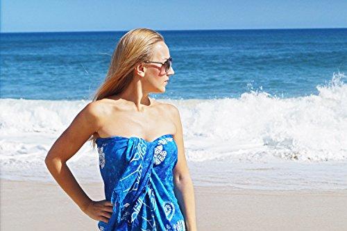 ManuMar Pareo de mujer | Pareo toalla de playa | Pareo ligero con flecos-borlas, diferentes tamaños, diseños y colores Dunkel-Türkis Hibiscus mediano