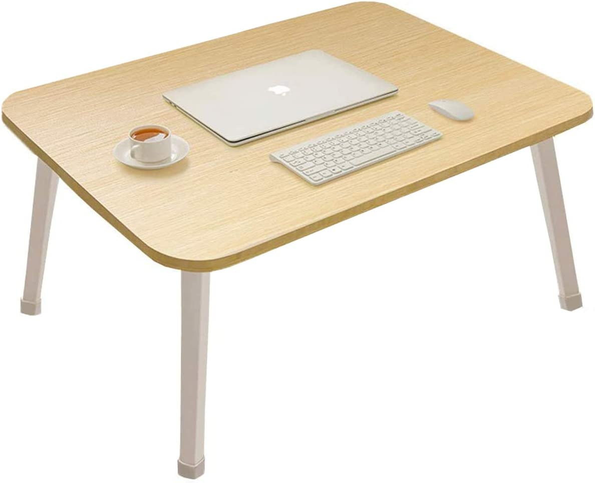 Laptop Bed Table, Laptop Desk for Bed, Folding Bed Table Portable Bed Tray, Floor Table,TV Tray Tables with Stand, Large Size,White Oak