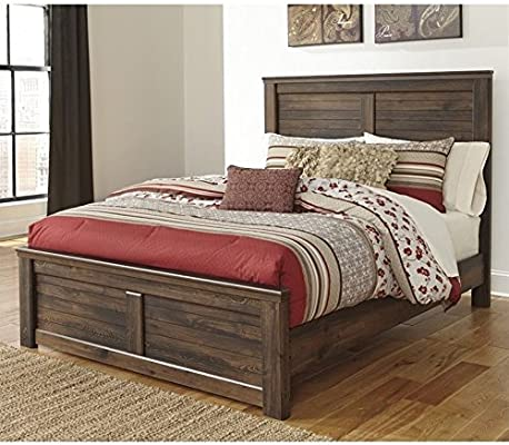 Amazon.com: Ashley Quinden Wood King Panel Bed In Dark Brown: Kitchen U0026  Dining