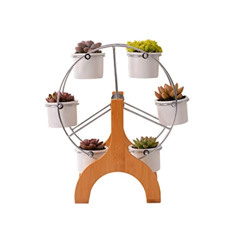 Planter Pots Indoor 6 Pack White Modern Decorative Ceramic Succulent Plant Pots With Ferris Wheel Stand Holder Home Office Desk Garden Mini Cactus