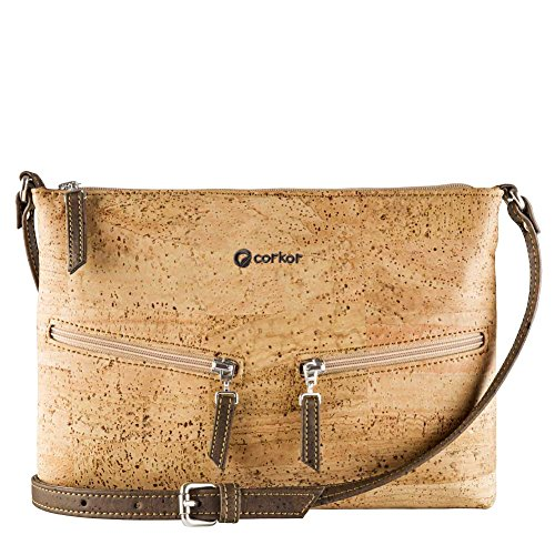 from Pockets Front Travel Corkor Vegan Bag Clair Body Cross Marron Cork Women for Brown XCqvYCw