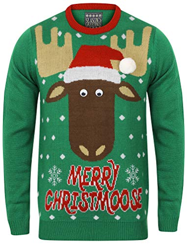 Seasons X moose Merry Greetings Green De Pull Sweater Noel Christmas 4RwA4B