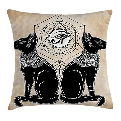 Occult Throw Pillow Cushion Cover by Lunarable, Ancient Egypt Cats Shape Traditional Sphinx Deity Bastet Geometrical Shapes Drawing, Decorative Square Accent Pillow Case, 36 X 36 Inches, Black - Cat Geometrical
