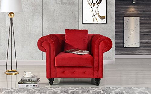 Classic Scroll Arm Large Velvet Living Room Chesterfield Accent Chair (Red) ()