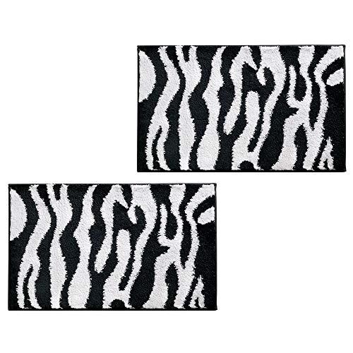 mDesign Soft Microfiber Non-Slip Small Rectangular Spa Mat, Zebra Print Design - Plush Water Absorbent Accent Rug for Bathroom Vanity, Bathtub/Shower, Machine Wash - 34