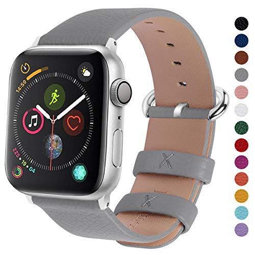 Fullmosa Compatible Apple Watch Band 38mm 40mm 42mm 44mm Leather Compatible iWatch Band/Strap Compatible Apple Watch Series 5 4 3 2 1, 38mm 40mm Grey