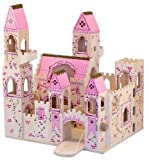 : Melissa & Doug Folding Princess Castle Wooden Dollhouse With Drawbridge and Turrets